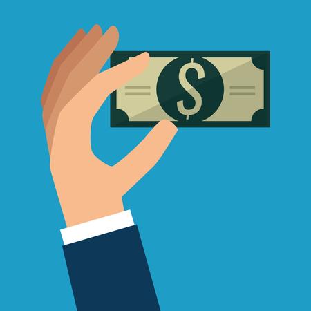 hand with bills dollar money icon vector illustration design Çizim