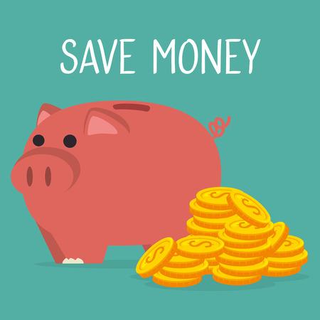 piggy savings with coins money vector illustration design