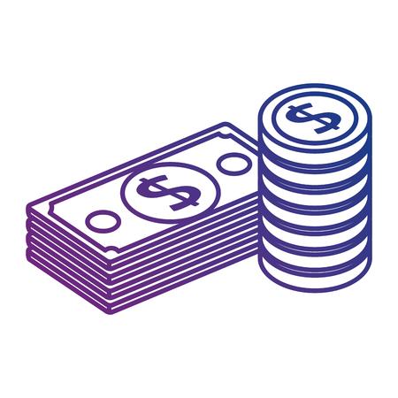 bills dollars and coins money isometric vector illustration design