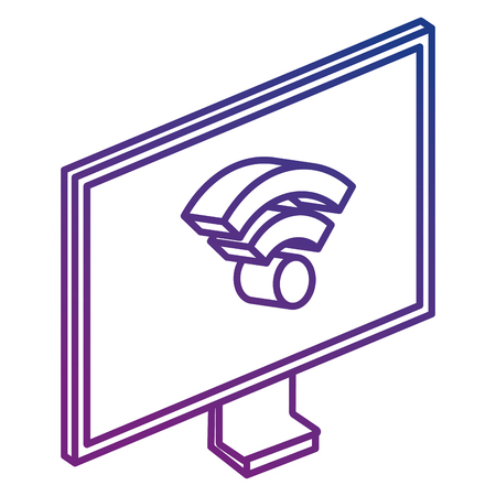 computer display with wifi signal isometric vector illustration design Illustration
