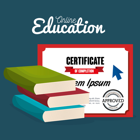 on line education with books vector illustration design Stock Illustratie