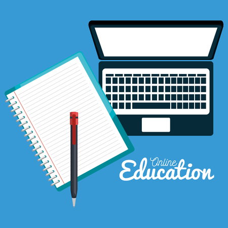 on line education with laptop vector illustration design Imagens - 101872045