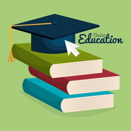 on line education with books vector illustration design Ilustração