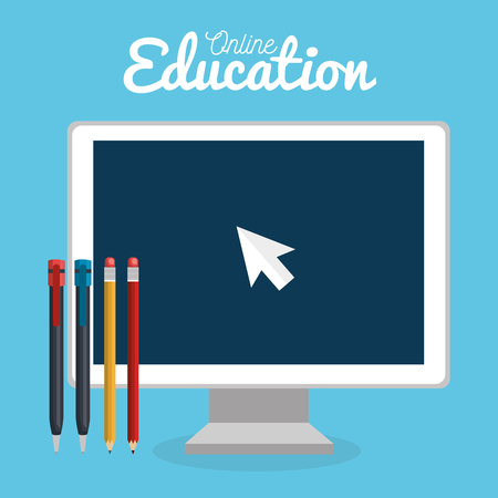 on line education with desktop computer vector illustration design