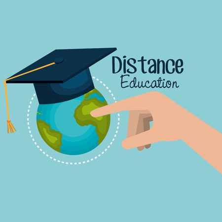 on line education with world planet vector illustration design