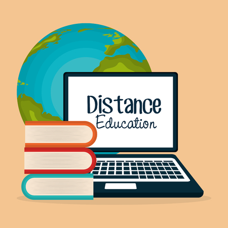 on line education with laptop vector illustration design