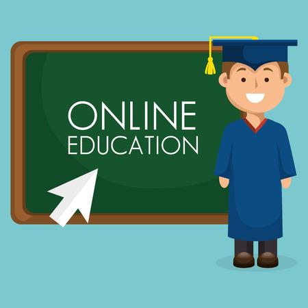 on line education with graduated avatar vector illustration design