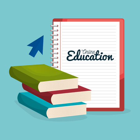 on line education with books vector illustration design 일러스트