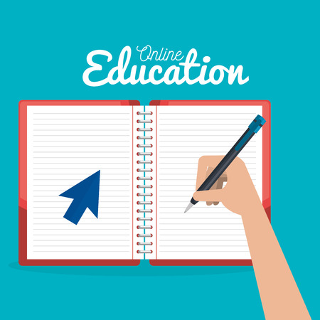 on line education with notebooks vector illustration design 일러스트