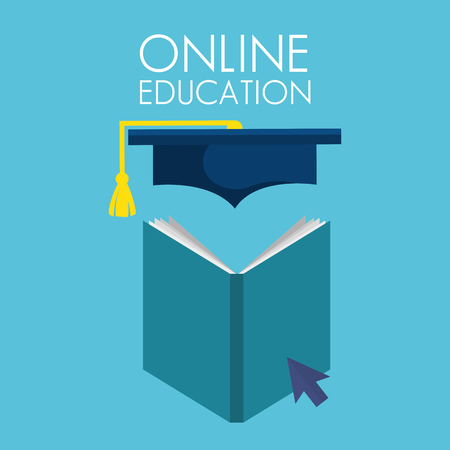 on line education with books vector illustration design Ilustração