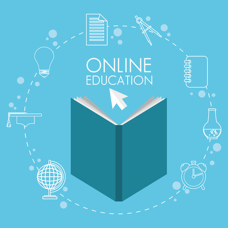 on line education with books vector illustration design Ilustrace