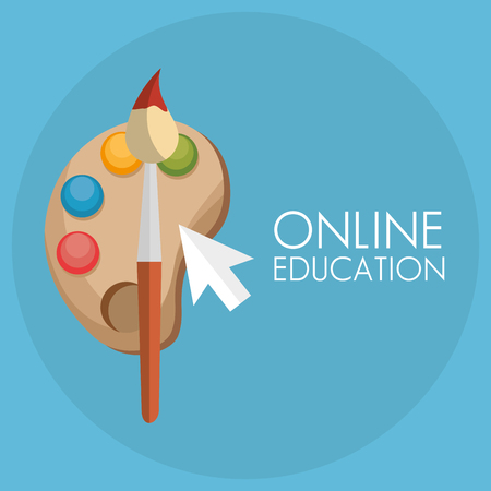 on line education with mouse cursor vector illustration design
