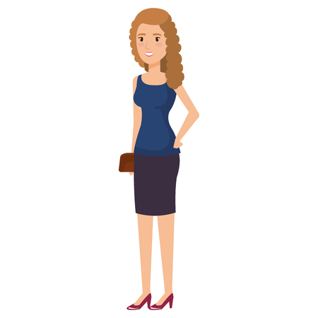businesswoman with handbag avatar character vector illustration design