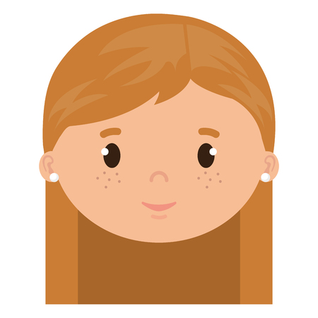 little girl daughter head character vector illustration design