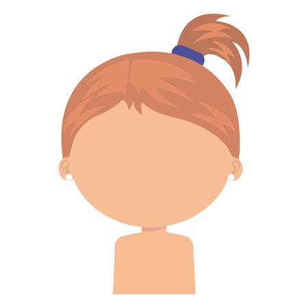 little girl daughter shirtless character vector illustration design