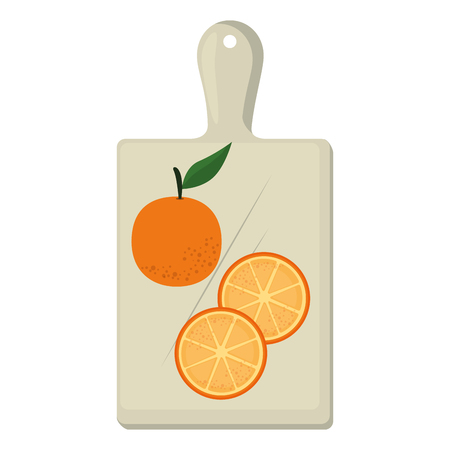 fresh oranges fruits in kitchen board vector illustration design Ilustração