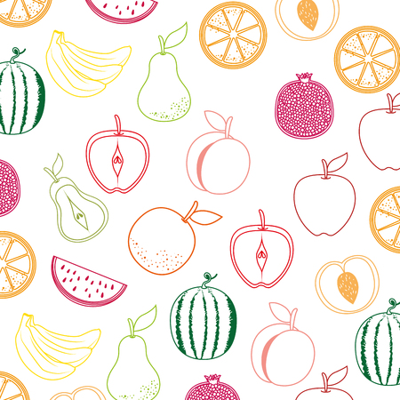 delicious set fruits healthy food pattern background vector illustration design Illustration