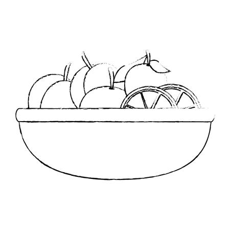 fresh oranges fruits in bowl vector illustration design