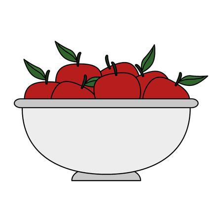 fresh apples fruits in bowl vector illustration design