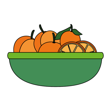fresh oranges fruits in bowl vector illustration design