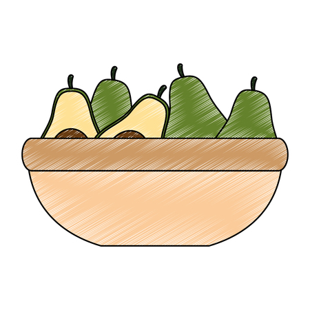 fresh avocados in bowl vegetarian food vector illustration design