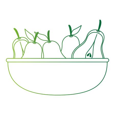 fresh pears in bowl fruits vector illustration design Stock Illustratie
