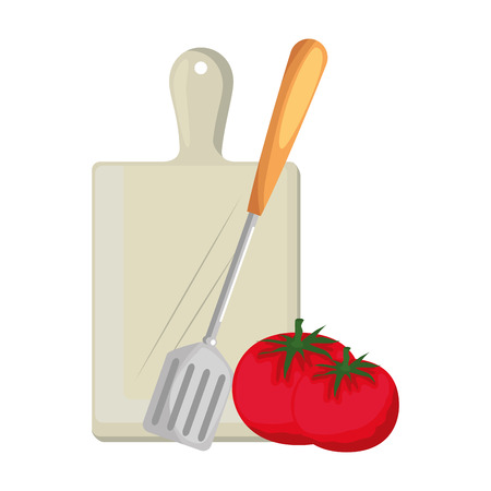 fresh tomato with cutting board and fork vector illustration design