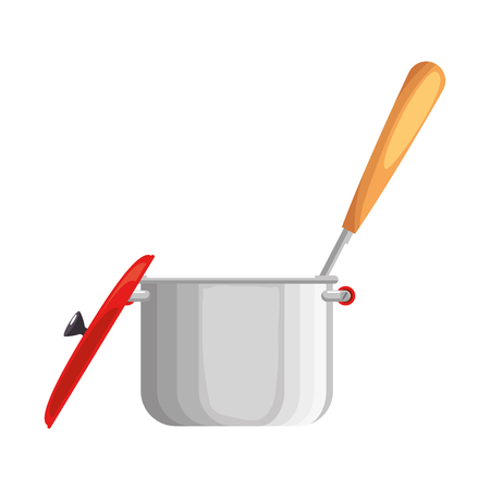 kitchen pot with cutlery vector illustration design