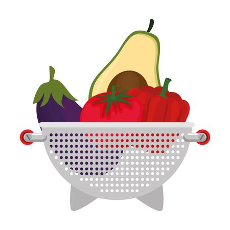 fresh vegetables in kitchen colander vector illustration design Archivio Fotografico - 101925270