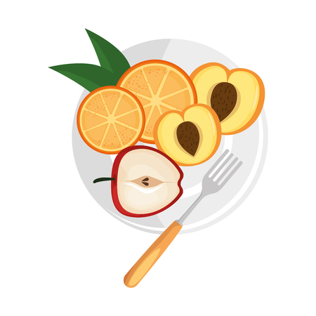 delicious set fruits in dish healthy food vector illustration design