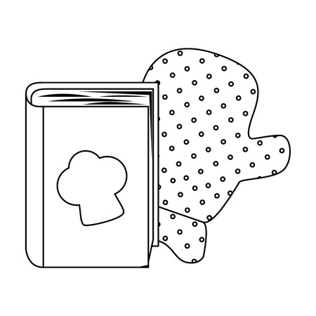 book recipes with chef hat and kitchen glove vector illustration design