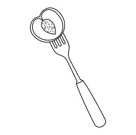 fresh mango fruit in fork vector illustration design