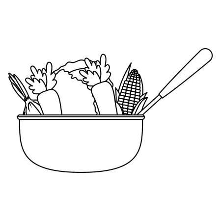 vegetables in kitchen bowl with ladle vector illustration design