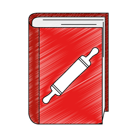book recipes with bakery roller vector illustration design