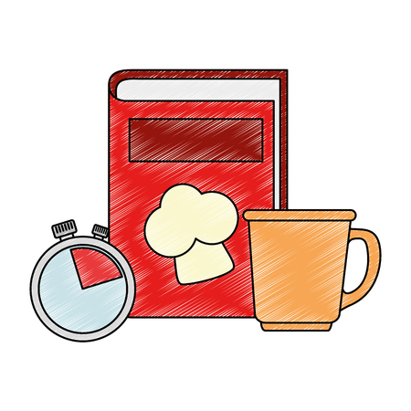 book recipes with coffee cup and chronometer vector illustration design Stockfoto - 101925601