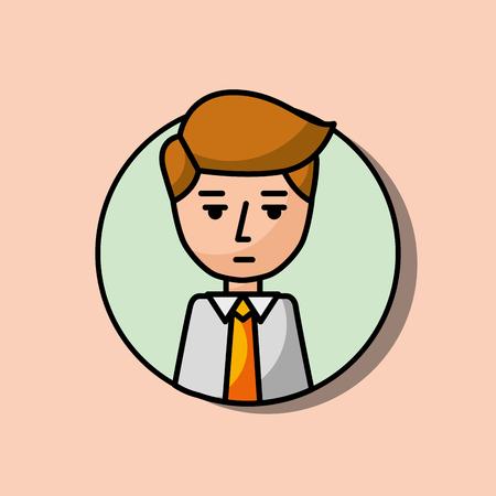 businessman portrait character serious gesture vector illustration Çizim