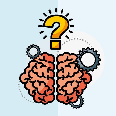 brain creative idea questions work vector illustration Ilustração