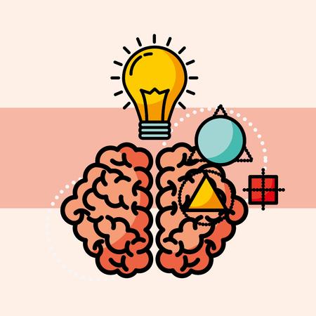 brain creative idea bulb think vector illustration