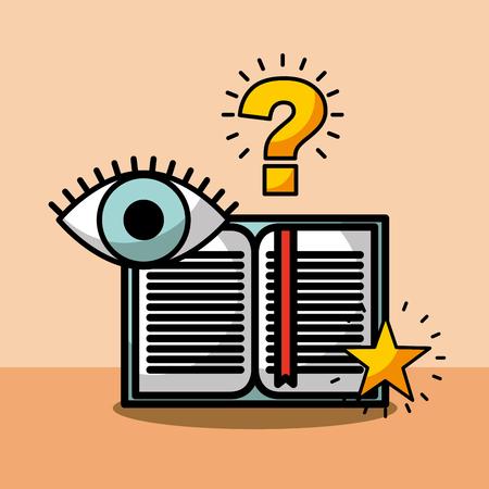 open book question eye learning vector illustration Stock fotó - 101927867
