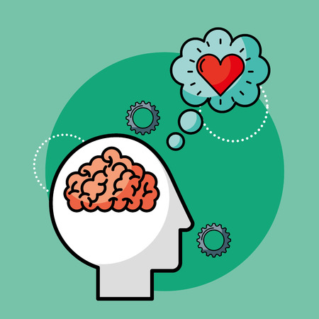 silhouette man brain love creative idea vector illustration 向量圖像