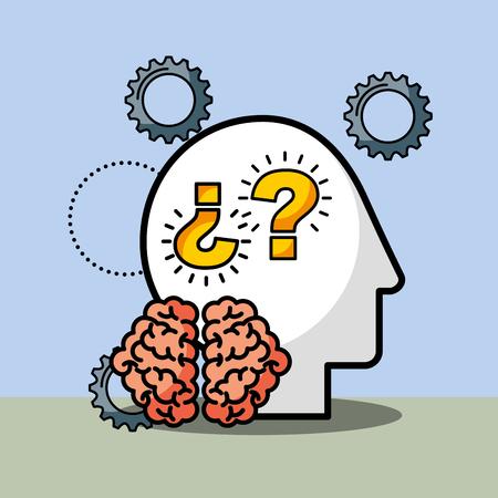 silhouette man brain questions creative idea vector illustration Banque d'images - 101927868