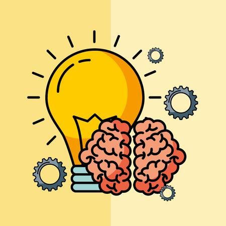 brain creative idea bulb innovation vector illustration