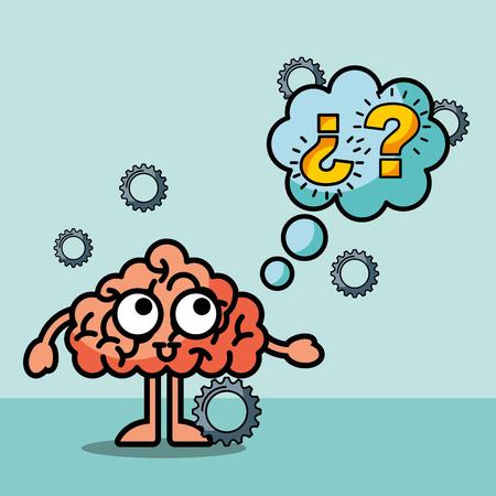 brain cartoon confused questions mak speech bubble vector illustration