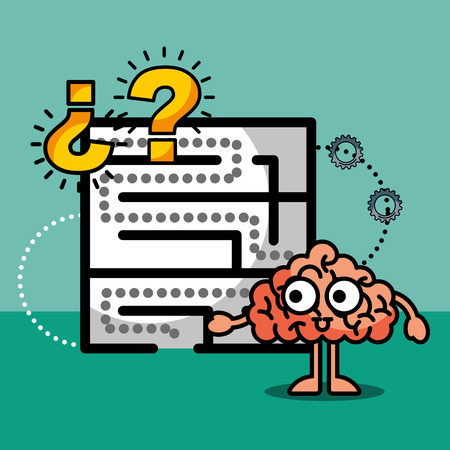 brain cartoon labyrinth creative idea solution vector illustration 向量圖像