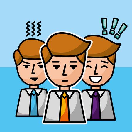 group businessman portrait team successful vector illustration