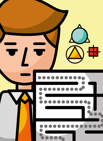businessman cartoon creativity labyrinth science learning vector illustration
