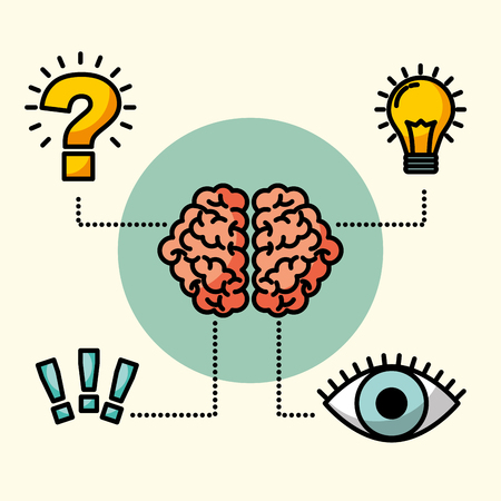 brain creative idea eye think exclamation question vector illustration