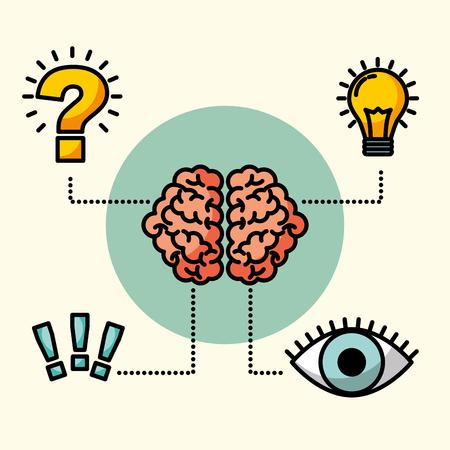 cerebro idea creativa ojo pensar exclamación pregunta ilustración vectorial