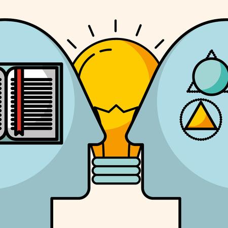 silhouettes man head creativity idea learn knowledge vector illustration