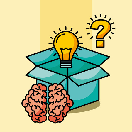 brain creative idea box bulb question vector illustration